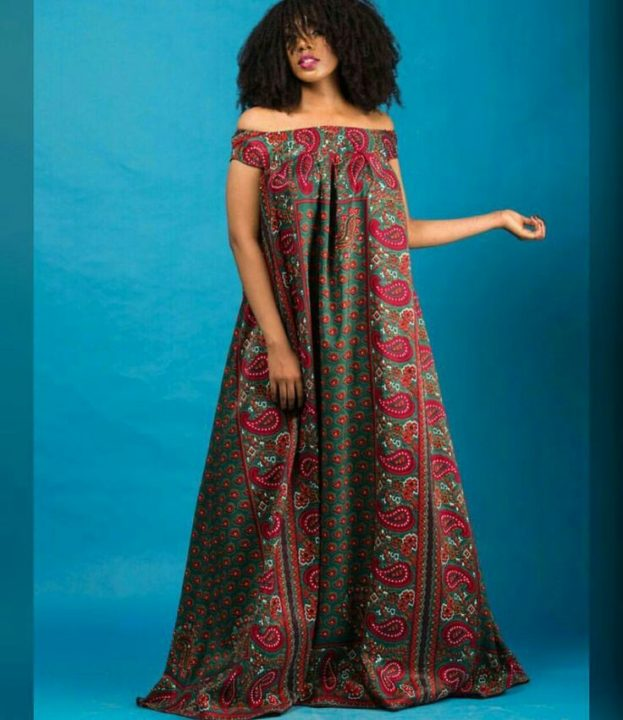 Ankara gown bare shoulders image