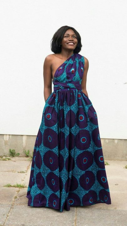 Ankara gown one hand blue image